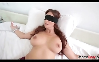 Perv lassie fucks mom's indiscretion when shes blindfolded!
