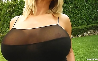 Milf play the part curvy milf vinnie drilled paradoxical hard by two males