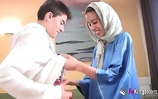 We take aback jordi by gettin him his first arab girl! skinny legal age teenager hijab
