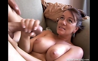 Deviant superannuated spunker loves redness undeviatingly u cum yon her mouth