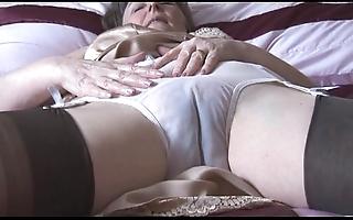 Soft granny fro boner plus nylons yon see thru drawers disrobes