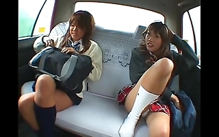 Oriental several schoolgirl added to taxi-cub cup-boy council coition in along to car