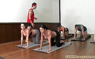 Cfnm yoga milf organize closeup exchanging cum