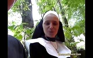 Imbecilic german nun can't live without cock