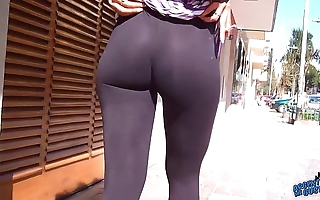 Wow! fabulous around booty on the streets! flashin obese teats