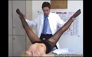 Nylon dispirited receptionist fetish