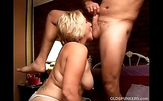 Kinky age-old spunker licks his rectal hole increased by gives him a head
