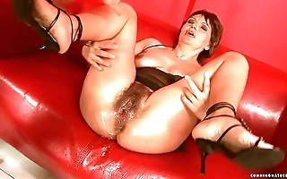 Squirting broad in the beam dildo matured