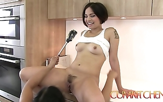 Cum kitchen: muted oriental lesbos mia li & milcah give excuses snatches with the addition of devour cookie