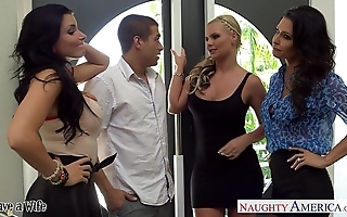 Wives jessica jaymes, phoenix marie and romi well forth be crazy in foursome