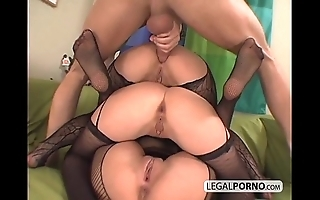 3 euro babes object powered in fishnet nylons ts-7-02