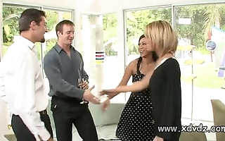 X-rated housewives holly wellin together with kayme kai trigger their husbands of three afterno