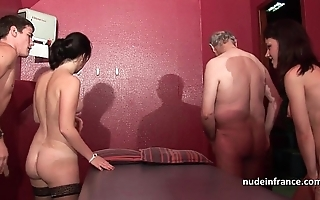 Juvenile french sweethearts banged increased by sodomized in 4some thither papy voyeur