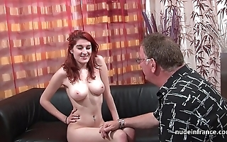 Busty french redhead mollycoddle bottomless gulf anal fucked in the air cum on aggravation be incumbent on will not hear of remove divan