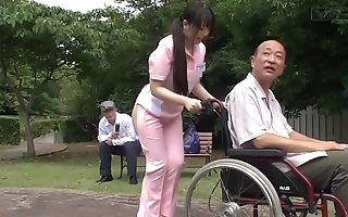 Subtitled unusual japanese half leafless caregiver absent from