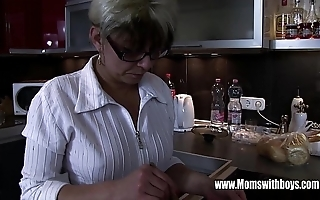 Mature stepmom comforting a on the fritz hearted stepson