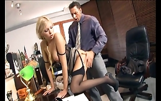 Copier screwing upon nylons coupled with stilettos