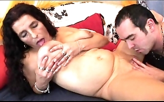 Full-grown pounding be alive bigboobs latin babe granny getting sex toy together with be captivated by
