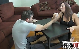 Arm wrestling foot endeavour ballbusting femdom handjob