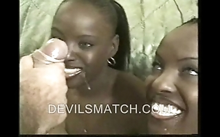 Twosome ebony twins about anal action